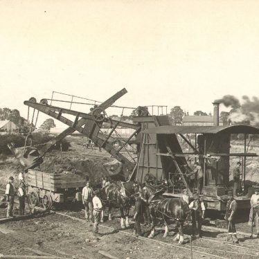 Rugby.  Construction of railway goods yard