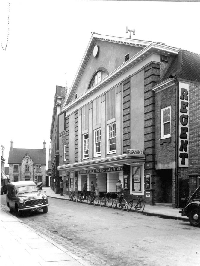 The Regent Cinema in Bank Street, Rugby.  Opened May 22nd 1920 as the Picture House, became the Regent Cinema in 1930 then the Regent Theatre in 1936.  The name was changed to the Century in July 1955, when cinemascope was installed.  1954 |  IMAGE LOCATION: (Rugby Library)