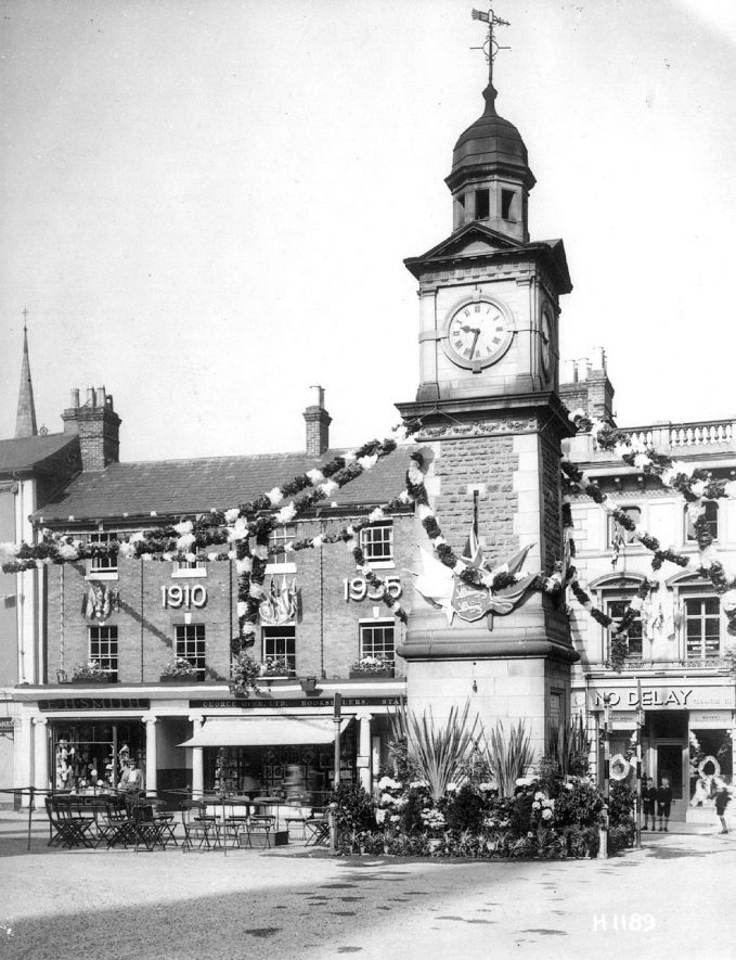 Rugby clock tower decorated for King George V jubilee.  1935 |  IMAGE LOCATION: (Rugby Library)