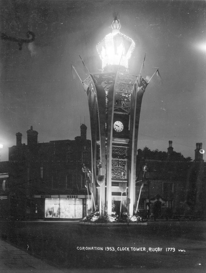 Rugby Clock Tower at night decorated for Queen Elizabeth's Coronation.  1953 |  IMAGE LOCATION: (Rugby Library)