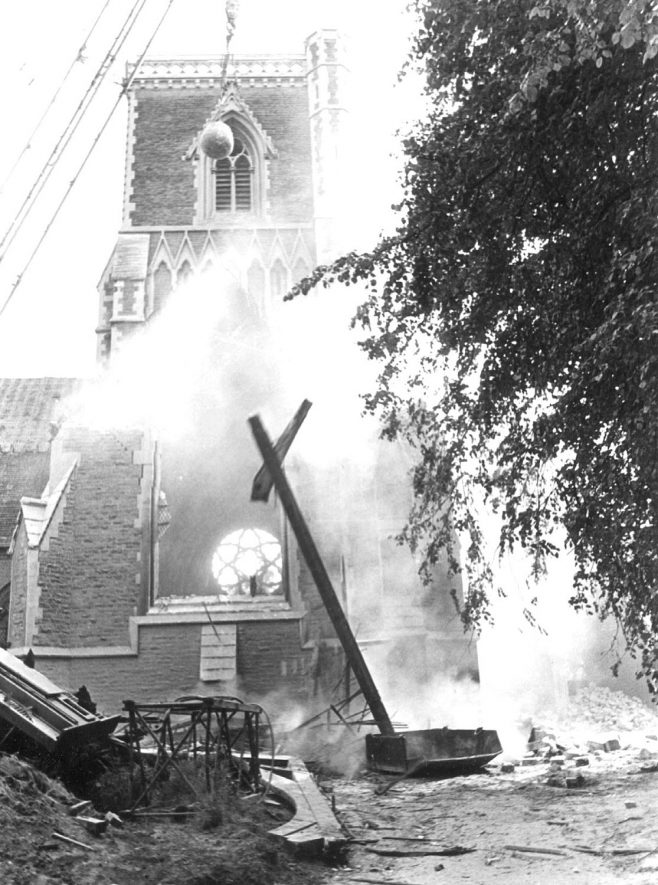 Holy Trinity Church in Church Street undergoing demolition, Rugby.  1983 |  IMAGE LOCATION: (Rugby Library)
