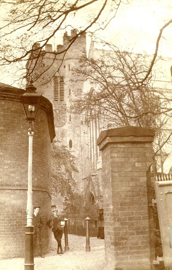 The west tower of St Andrew's Church, Rugby.  1900s |  IMAGE LOCATION: (Rugby Library)