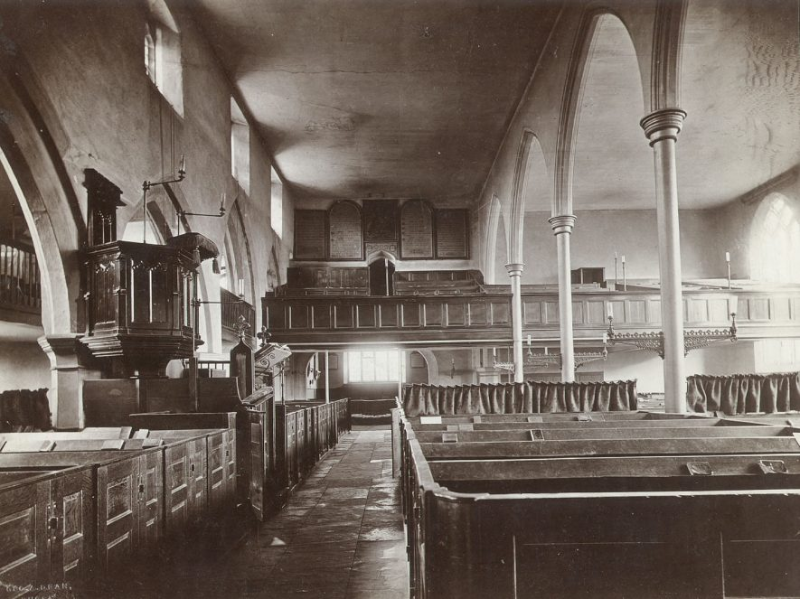 St Andrew's Church interior, east end, Rugby.  1870s |  IMAGE LOCATION: (Rugby Library)