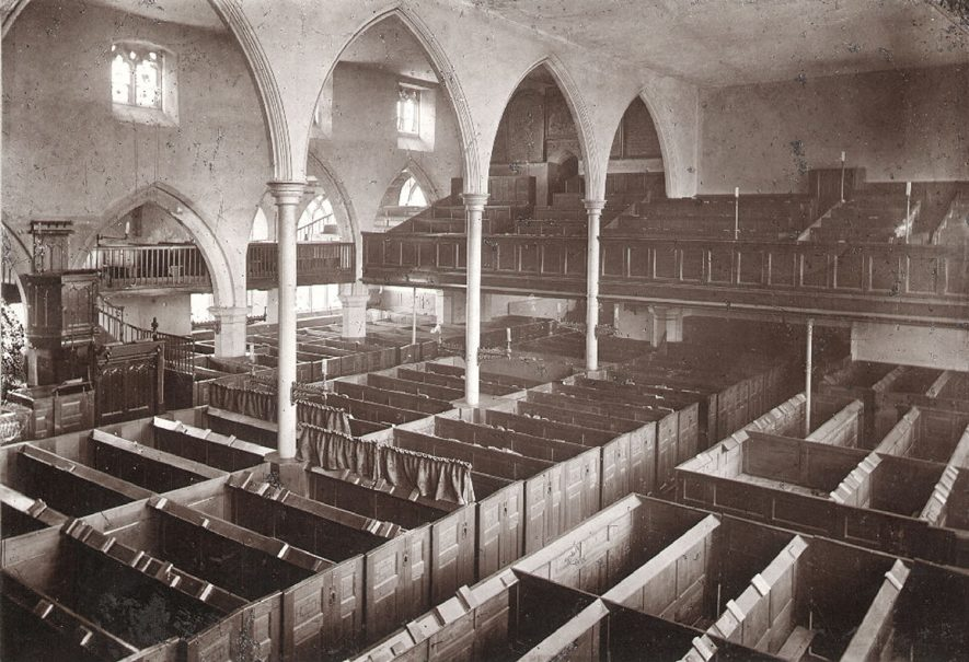 St Andrew's Church interior, west end of nave, Rugby.  1870s |  IMAGE LOCATION: (Rugby Library)