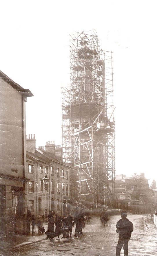 Construction of St Andrew's Church spire, Rugby.  1895 |  IMAGE LOCATION: (Rugby Library)