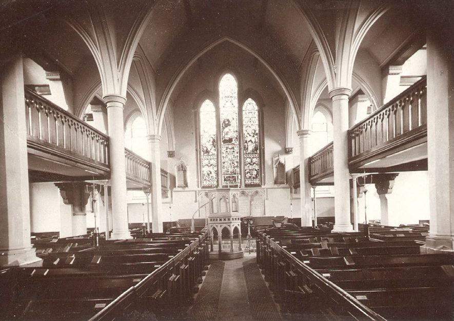 St Matthew's church interior, showing the nave looking east and the movable pulpit, Rugby.  1910s |  IMAGE LOCATION: (Rugby Library)