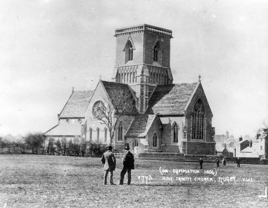 Holy Trinity Church, Rugby, which was completed in 1854 and demolished in 1983.  1854 |  IMAGE LOCATION: (Rugby Library)