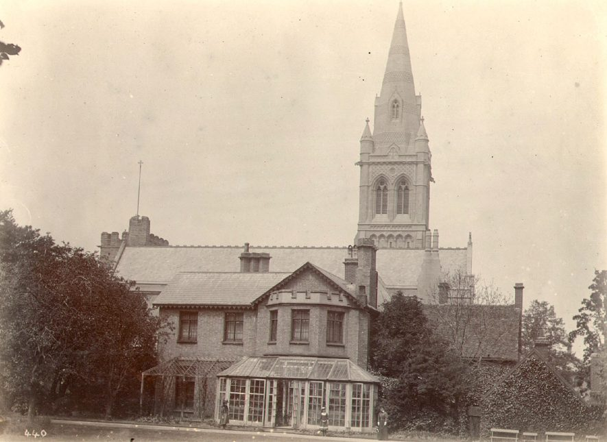 St Andrew's Church and the old rectory, Rugby.  The rectory was bought by Rugby Corporation in 1951 and sold to the William Temple College in 1952.  1890s |  IMAGE LOCATION: (Rugby Library)