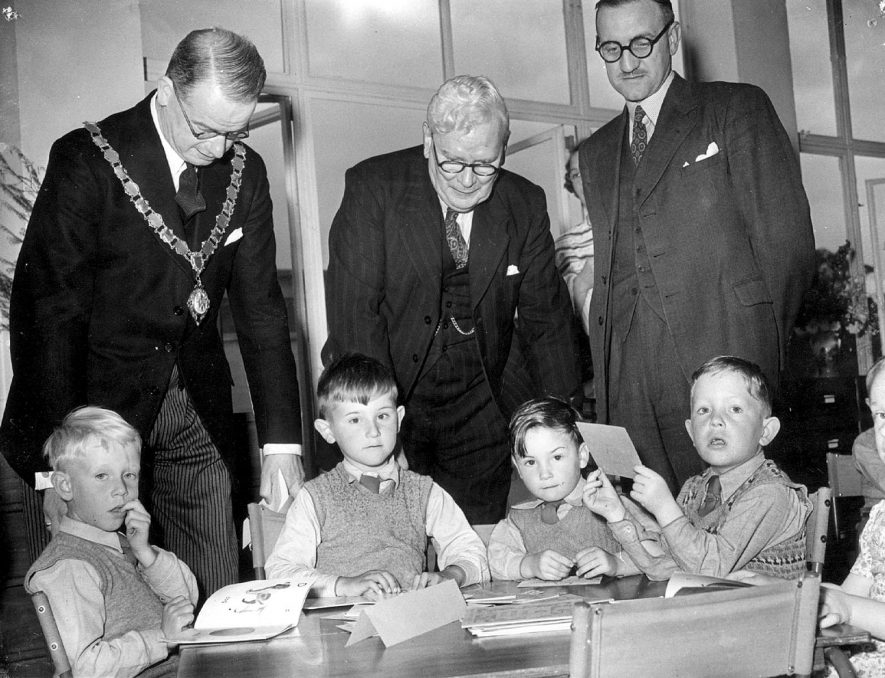 Formal opening of Rokeby School by the Mayor, Councillor W. A. Rowbotham accompanied by Alderman N. D. Johnstone and Mr J. S. Bishop,  Local Education Officer, Rugby.  1952 |  IMAGE LOCATION: (Rugby Library) PEOPLE IN PHOTO: Rowbottom as a surname, Rowbotham, Councillor W A, Johnstone, N D, Johnstone as a surname, Bishop, Mr J S, Bishop as a surname
