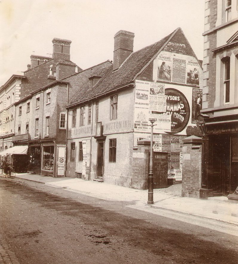 The Old Shoulder of Mutton Inn in High Street whose site is now occupied by Marks & Spencers, Rugby.  1897 |  IMAGE LOCATION: (Rugby Library)