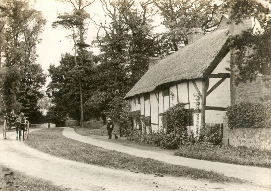 Old thatched half timbered cottages in Bilton, Rugby.  1910 |  IMAGE LOCATION: (Rugby Library)