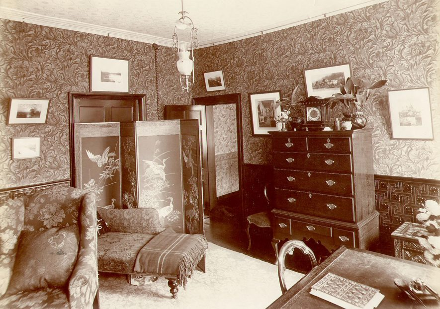 Interior of the study, Boughton House, Rugby.  1898 |  IMAGE LOCATION: (Rugby Library)