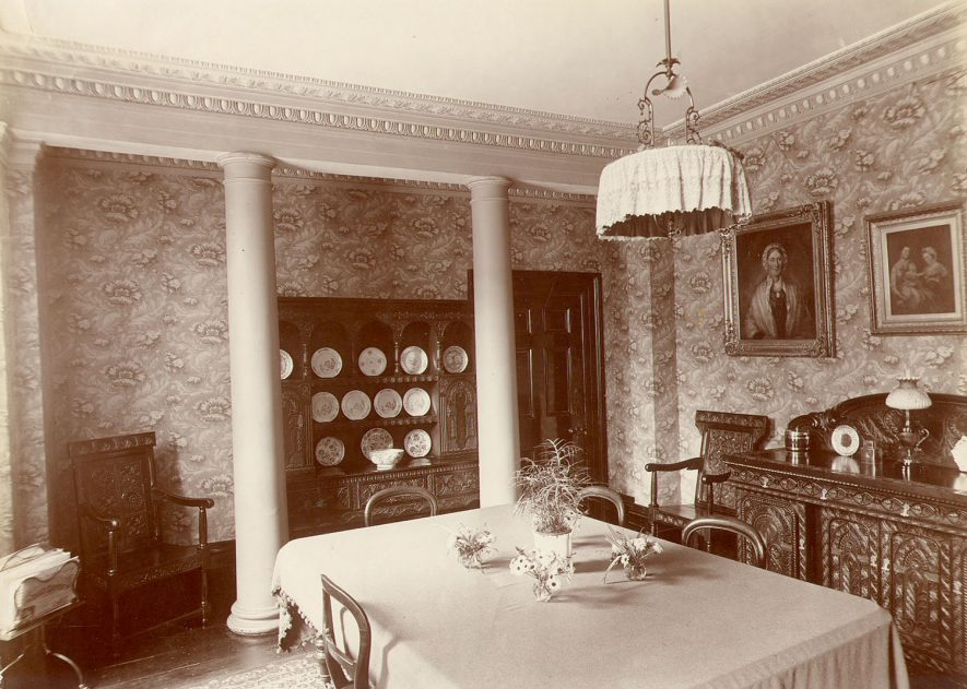 Interior of dining room, Boughton House, Market Place, Rugby.  1898 |  IMAGE LOCATION: (Rugby Library)
