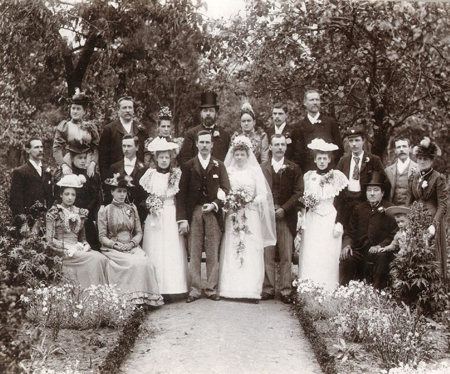 A wedding group, whose identity is unknown, in Rugby.  1900 |  IMAGE LOCATION: (Rugby Library)