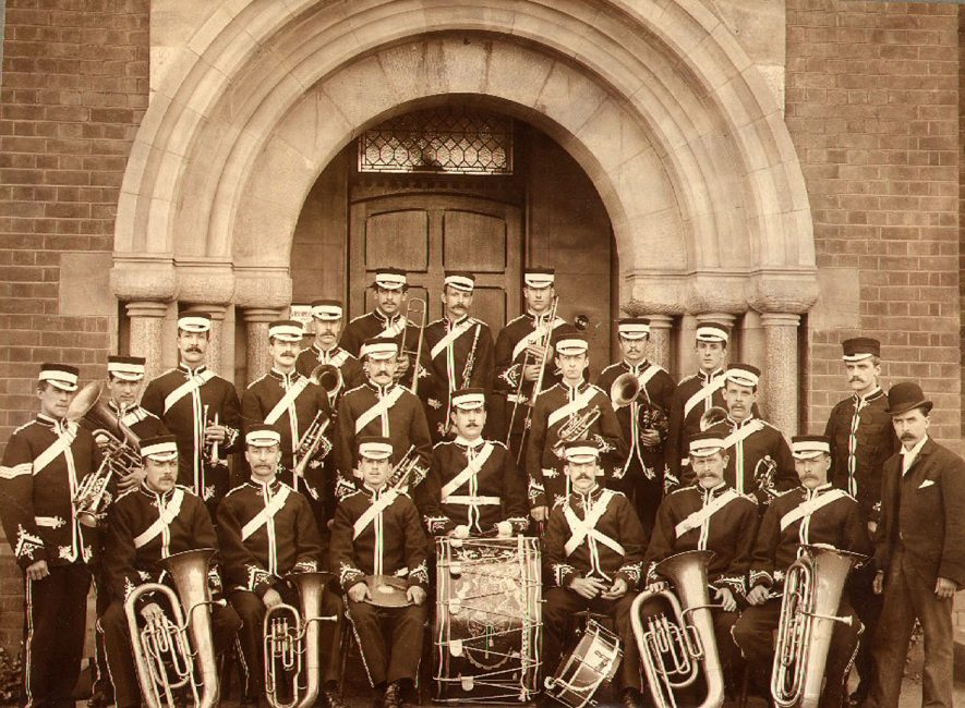 Willans & Robinson works band pictured outside their main offices, Rugby.  1910s |  IMAGE LOCATION: (Rugby Library)