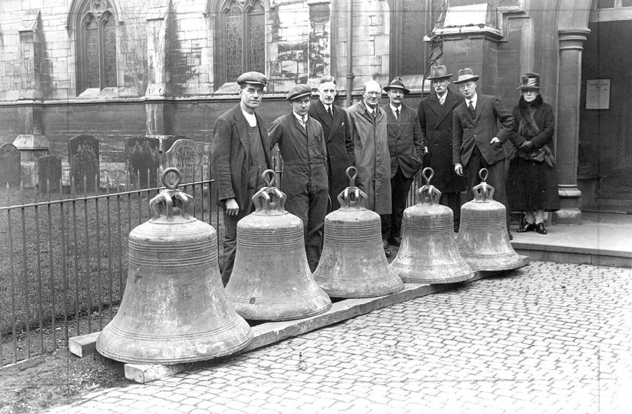 St Andrew's church bells at the time of the restoration of the tower, Rugby.  1929 |  IMAGE LOCATION: (Rugby Library)