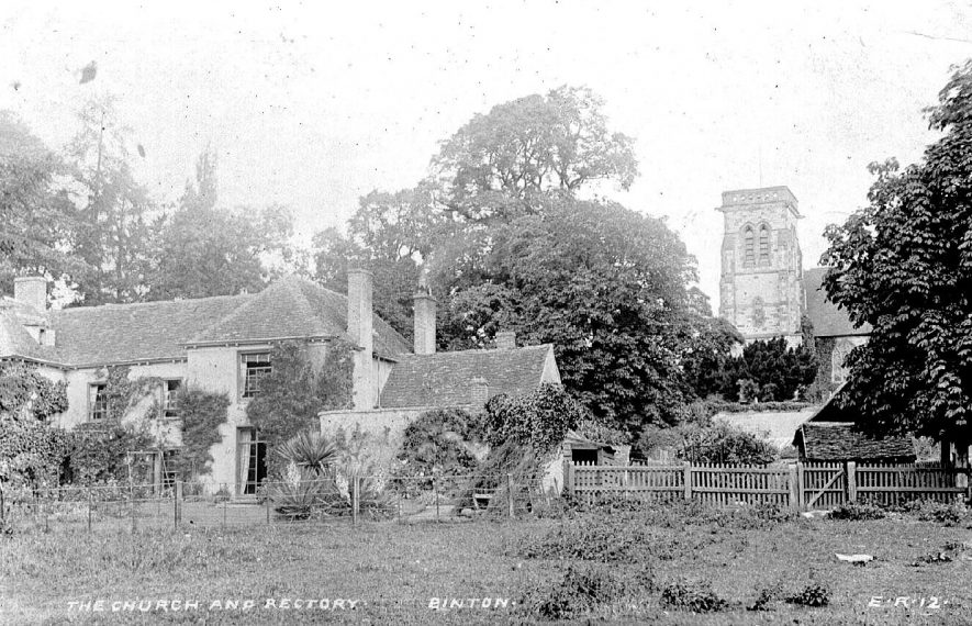 General view of Binton church and rectory.  Circa 1905 |  IMAGE LOCATION: (Warwickshire County Record Office)