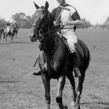 Rugby.  H.R.H. Prince of Wales playing polo at Springhill