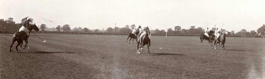 Polo game being played at Springhill polo ground, Rugby.  1920s |  IMAGE LOCATION: (Rugby Library)