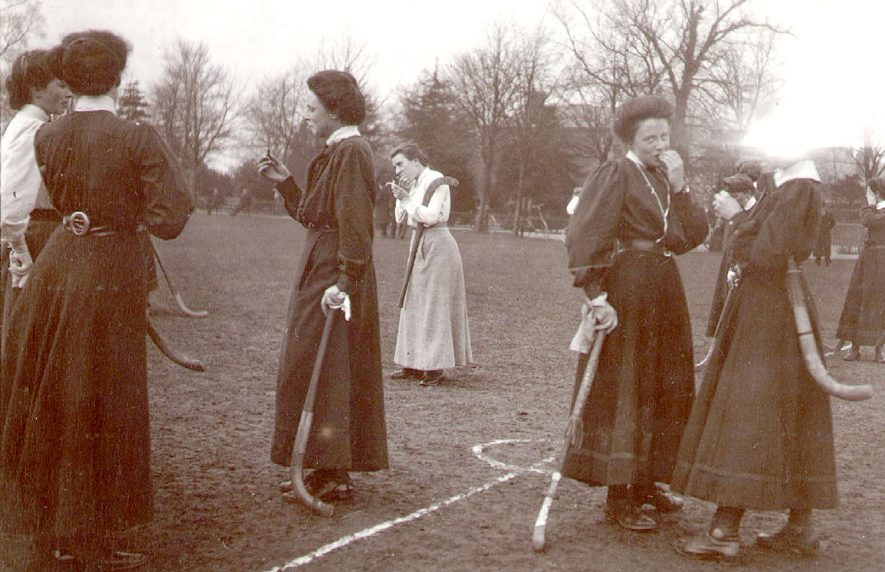 Rugby ladies hockey club during a match on the recreation ground about 1900. |  IMAGE LOCATION: (Rugby Library)