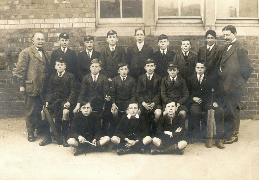 Murray School, Rugby, cricket eleven in 1921. Back row from left to right - Mr. W.T. Coles Hodges, headmaster, Alsop, anon, Winterburn, Beet, Higgins, anon, Tebbs, Mr. W.H.E. Twells, master. Middle row - Dodwell, anon x 4, Hardiman. Front row - A.F Carvell, Waring Kingston. |  IMAGE LOCATION: (Rugby Library) PEOPLE IN PHOTO: Winterburn as a surname, Waring as a surname, Twells, Mr W H E, Twells as a surname, Tebbs as a surname, Kingston as a surname, Higgins as a surname, Hardiman as a surname, Dodwell as a surname, Coles Hodges, Mr W T, Coles Hodges as a surname, Carvell, A F, Carvell as a surname, Beet as a surname, Alsop as a surname