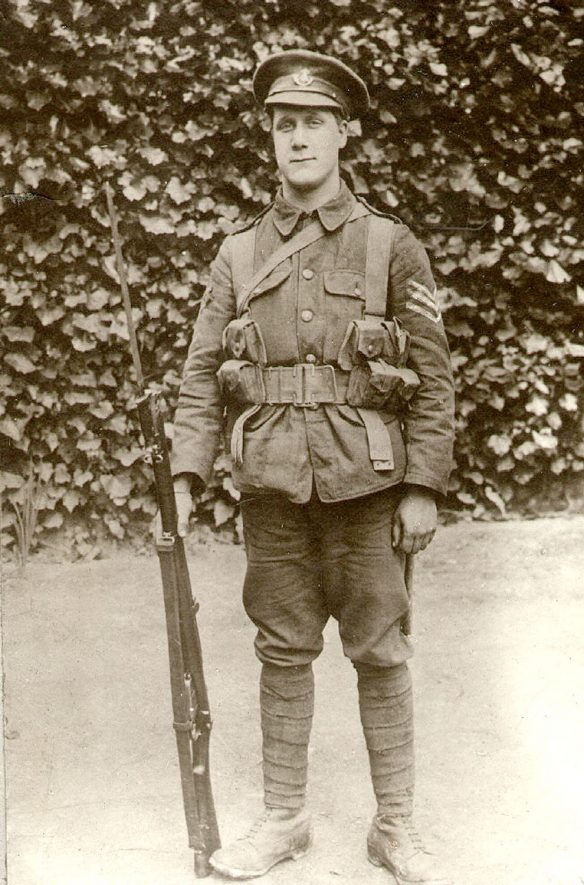 Sergeant A Ashworth of the 5th Oxford & Bucks Light Infantry. He joined on August 19th 1914 and left for France in May 1915. He was wounded on the 5th August 1915 at Ypres. Brought to Bethnall Green military hospital and discharged in January 1916. Returned to France in March 1916. Killed April 9th 1917. Buried April 9th in the British Soldiers Cemetery, Telegraph Hill, Arras. He was 22 years old.  1910s |  IMAGE LOCATION: (Rugby Library) PEOPLE IN PHOTO: Ashworth, Sergeant A, Ashworth as a surnaame