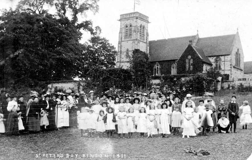 Celebrations on St Peter's Day at Binton Church.  1911 |  IMAGE LOCATION: (Warwickshire County Record Office)