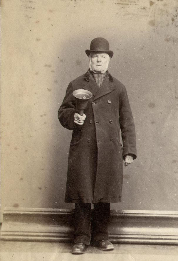 Mr. W. Bromwich, Town Crier of Rugby when this photograph was taken in 1870. |  IMAGE LOCATION: (Rugby Library) PEOPLE IN PHOTO: Bromwich, W, Bromwich as a surname