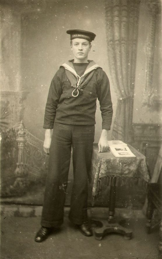 Boy 1st class Harry Cooper of H.M.S. Defence. Killed in action at the Battle of Jutland, May 31st - June 1st 1916 at age 17 years.  1910s |  IMAGE LOCATION: (Rugby Library) PEOPLE IN PHOTO: Cooper, Harry, Cooper as a surname