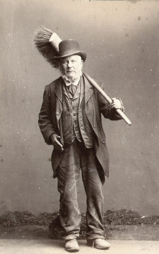 Randell Collis, a roadsweeper, Rugby.  1883 |  IMAGE LOCATION: (Rugby Library) PEOPLE IN PHOTO: Collis as a surname, Collis, Randell