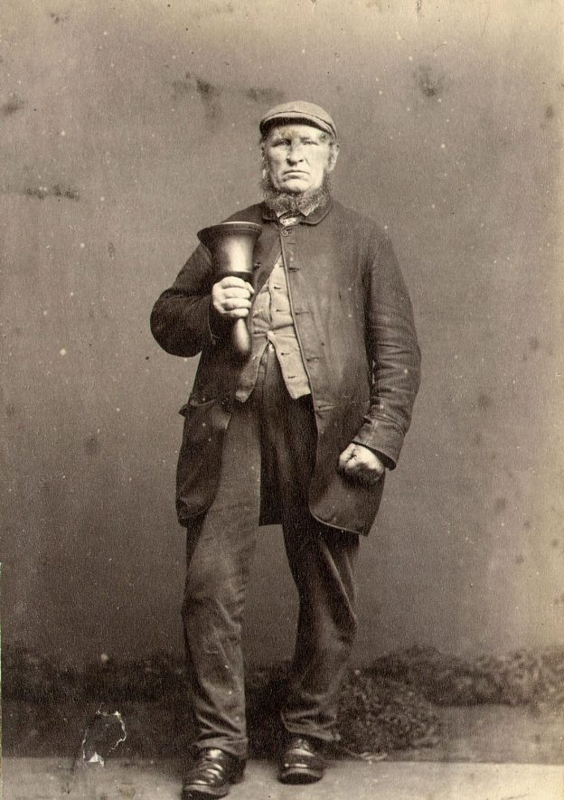 Henry Collins, Rugby Town Crier.  1880 |  IMAGE LOCATION: (Rugby Library) PEOPLE IN PHOTO: Collins as a surname, Collins, Henry