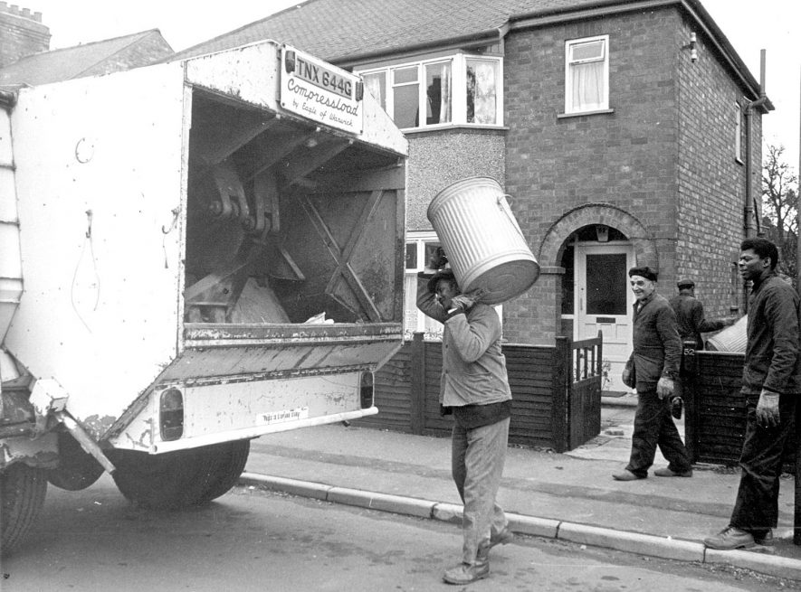 Dustmen back at work after a five week strike, Rugby.  1970  Photograph supplied by kind permission of the Rugby Advertiser. |  IMAGE LOCATION: (Rugby Library)
