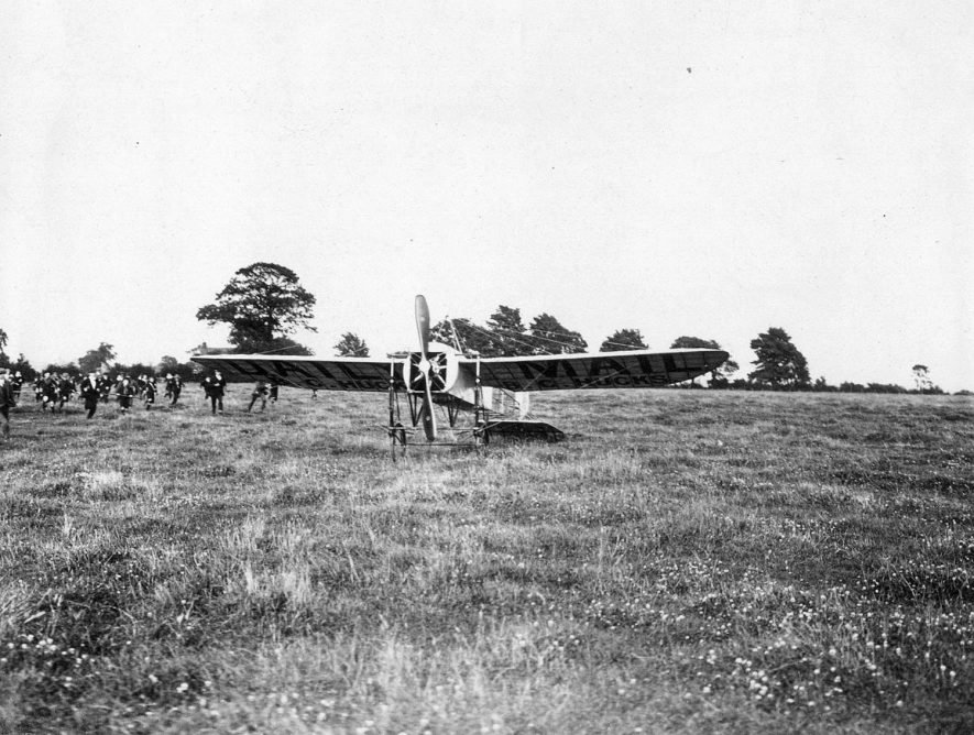 Visit by famous pre-war pilot, Mr B C Hucks and his aircraft, which  landed at  Eastlands showfield, Rugby.  1912 |  IMAGE LOCATION: (Rugby Library) PEOPLE IN PHOTO: Hucks, B C, Hucks as a surname