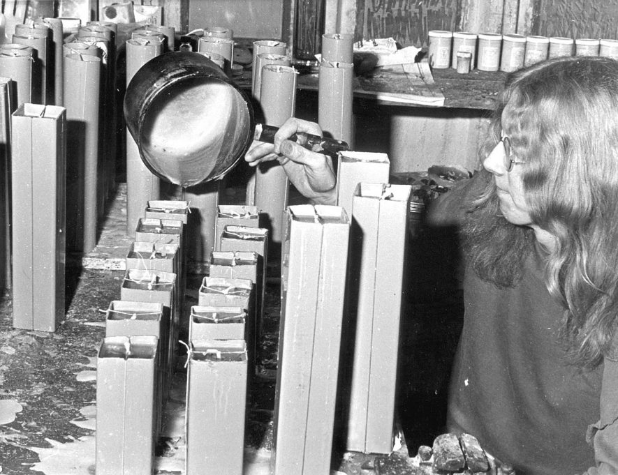 An unknown man making candles in Rugby during the power cuts of 1972.Photograph supplied by kind permission of the Rugby Advertiser. |  IMAGE LOCATION: (Rugby Library)