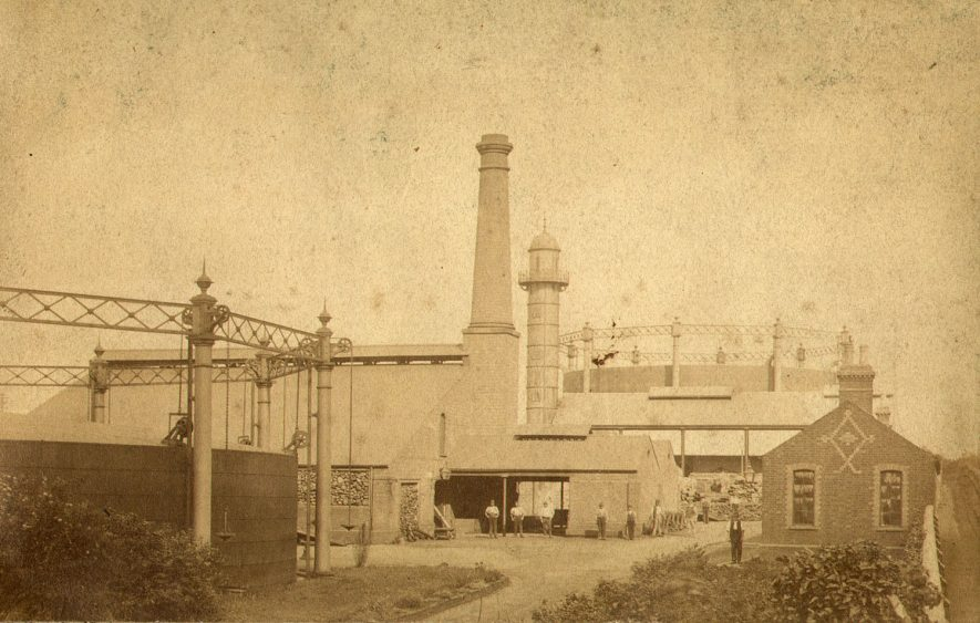 The old gas works in Newbold Road, Rugby.  1888 |  IMAGE LOCATION: (Rugby Library)