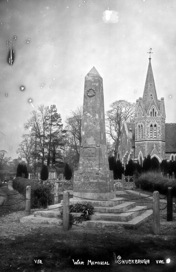 The war memorial and church at Shuckburgh |  IMAGE LOCATION: (Rugby Library)