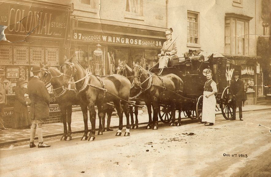 Mr Goodes carriage and four outside his shop in Sheep Street, Rugby.  October 11th 1913 |  IMAGE LOCATION: (Rugby Library)