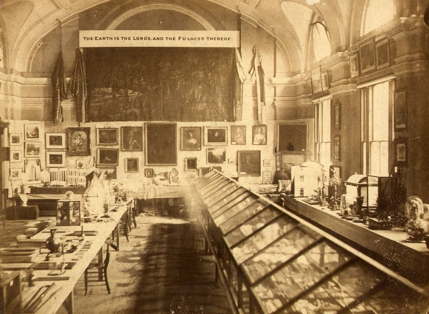 Exhibition in the town hall, Rugby, in 1873. |  IMAGE LOCATION: (Rugby Library)