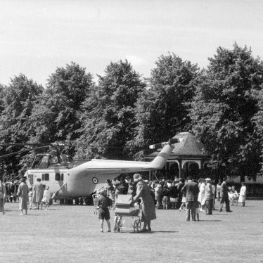 Rugby.  Royal helicopter in the Recreation Ground