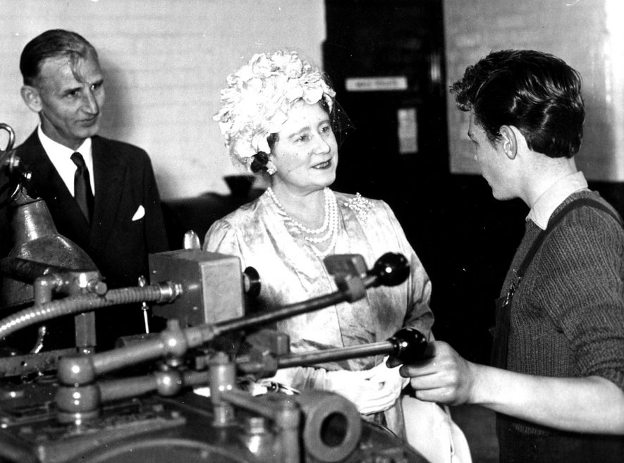 Her Majesty Queen Elizabeth the Queen Mother at the A.E.I. works, Rugby.  She is accompanied by Mr D.G Craddock, Superintendent of the apprentices training department.  July 5th 1961 |  IMAGE LOCATION: (Rugby Library) PEOPLE IN PHOTO: Elizabeth, The Queen Mother, Craddock, Mr D G, Craddock as a surname