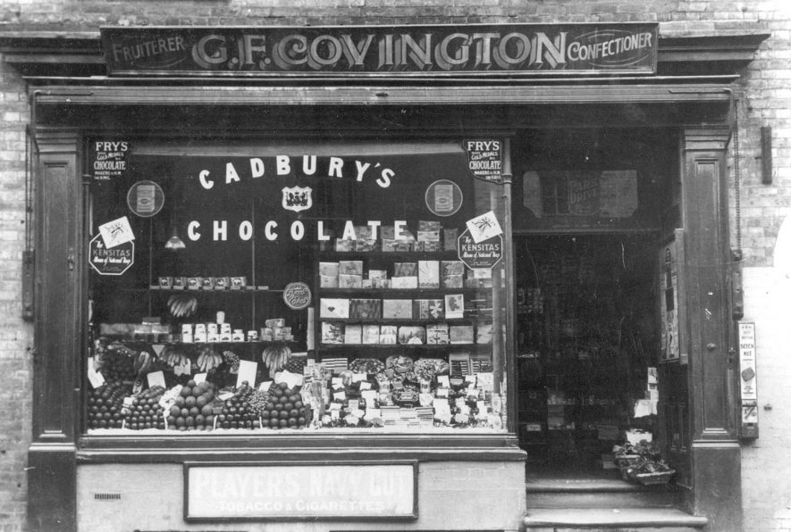 Exterior of G.F Covington's fruiterers & confectionery shop in North Street, Rugby. The shop was in existence from 1907 - 1938. |  IMAGE LOCATION: (Rugby Library)