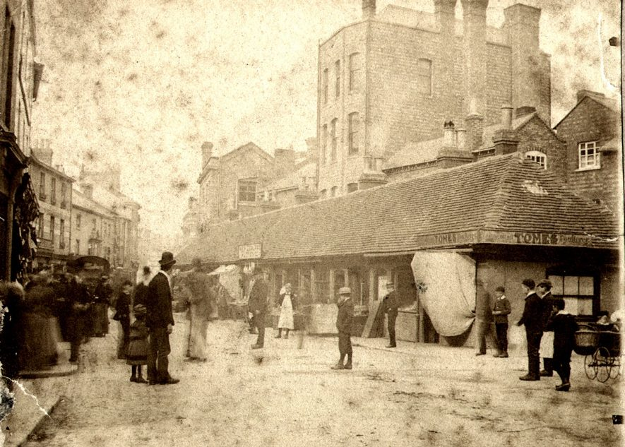 People standing in The Shambles, Sheep Street, Rugby.  Circa 1892 |  IMAGE LOCATION: (Rugby Library)