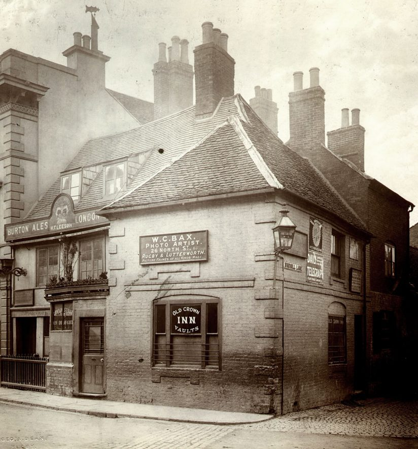The Old Crown Inn in Market Place, Rugby.  1896 |  IMAGE LOCATION: (Rugby Library)