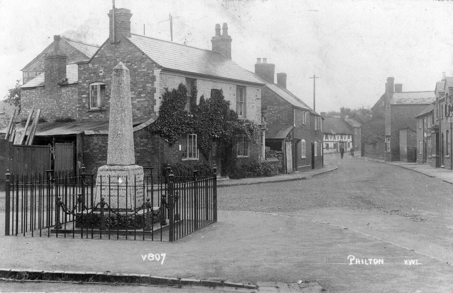 View of Pailton with the war memorial in the foreground.  1920s |  IMAGE LOCATION: (Warwickshire County Record Office)