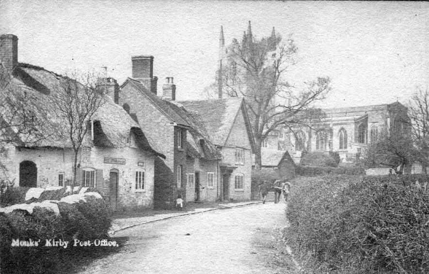 Post office, cottages and church in Monks Kirby.  1900s |  IMAGE LOCATION: (Warwickshire County Record Office)