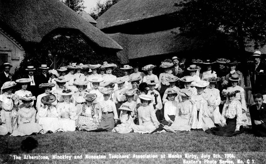 The Atherstone, Hinckley and Nuneaton teachers association at Monks Kirby on July 8th 1904. |  IMAGE LOCATION: (Warwickshire County Record Office)