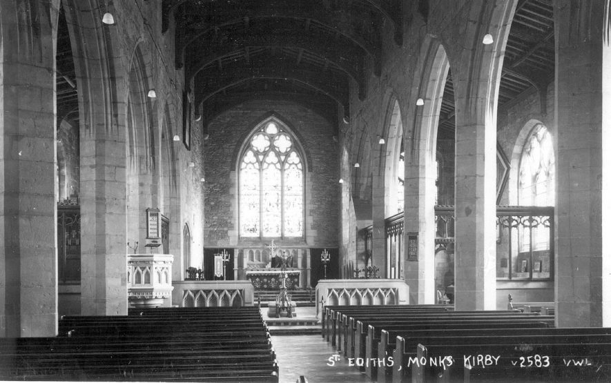 Interior of St Edith's church, Monks Kirby.  1950s |  IMAGE LOCATION: (Warwickshire County Record Office)