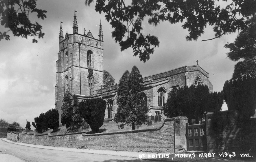 Exterior of St Edith's church, Monks Kirby.  1930s |  IMAGE LOCATION: (Warwickshire County Record Office)