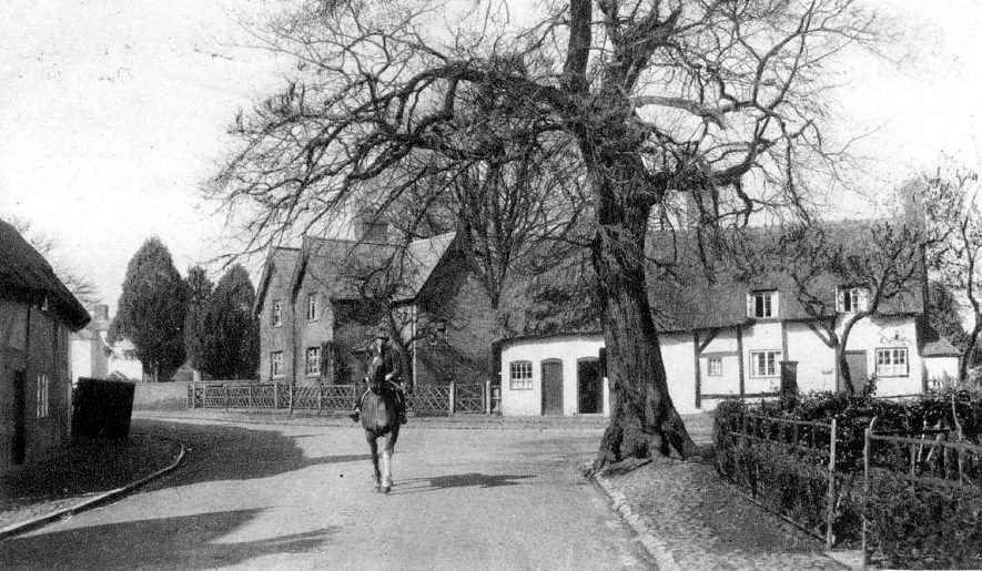Horse rider in Monks Kirby village street, with cottages behind.  1920s |  IMAGE LOCATION: (Warwickshire County Record Office)
