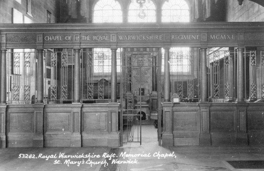The Memorial Chapel to the Royal Warwickshire Regiment,  in St Mary's Church, Warwick.  1950s |  IMAGE LOCATION: (Warwickshire County Record Office)